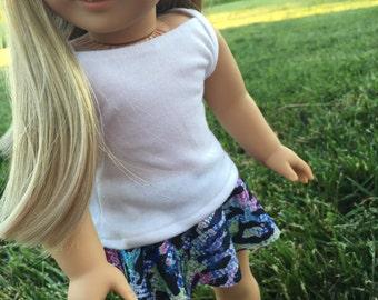 Jazzy zebra skirt. Tank top shirt. Leggings. 18 inch doll clothes. Fits American Girl doll