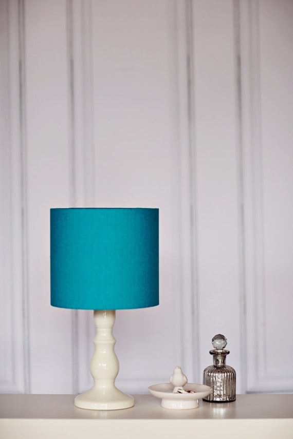 turquoise drum lamp shade turquoise cotton drum lampshade. Black Bedroom Furniture Sets. Home Design Ideas