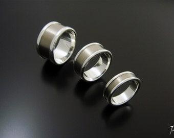 Plain Titanium and Silver Ring