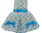 Turquoise 100% Cotton Floral Summer Dog Dress by Bella Poochy TM
