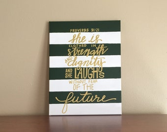 "Canvas Painting Quote - ""She is Clothed in Strength and Dignity"" Proverbs 31:25 Handmade Wall Art Dorm Room Decor Home Little Girl Room"