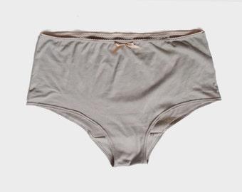 Minimalist Pinup Retro Lingerie:  Cotton Knickers, Minimalist Panties, Natural Waist Undies, Retro French Cut Panties Tan Colour