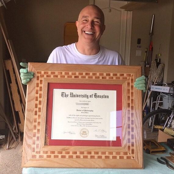 diploma frame custom wood inlay college doctorate highschool diploma ooak handmade