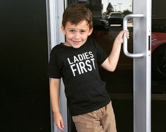LADIES FIRST-Boys-Toddler-TShirt-American Apparel Kids Tri-Blend Short Sleeve TShirt