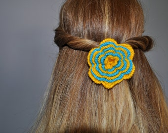 Crochet elastic hair flower