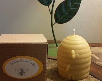 Handmade 100% pure beeswax honey candle. Beehive style candle.