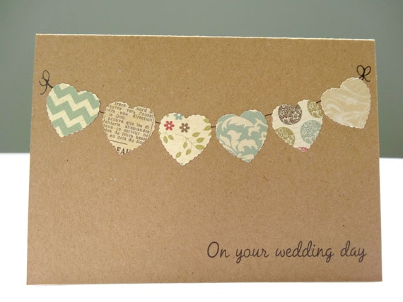 ... rustic wedding day greeting cardheart buntingfree UK delivery