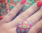 Rani Pink, Modern Indian Inspired Ring, Holi Ring, Multicoloured, Colourful, Hot Pink, Clay Applique, Swarovski Crystal, Applique Ring