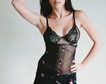 SALE - Nightgown - Sheer Embroidered Black Mesh 'Blazing Star' Babydoll Nightie - See Through Custom Fit Lingerie