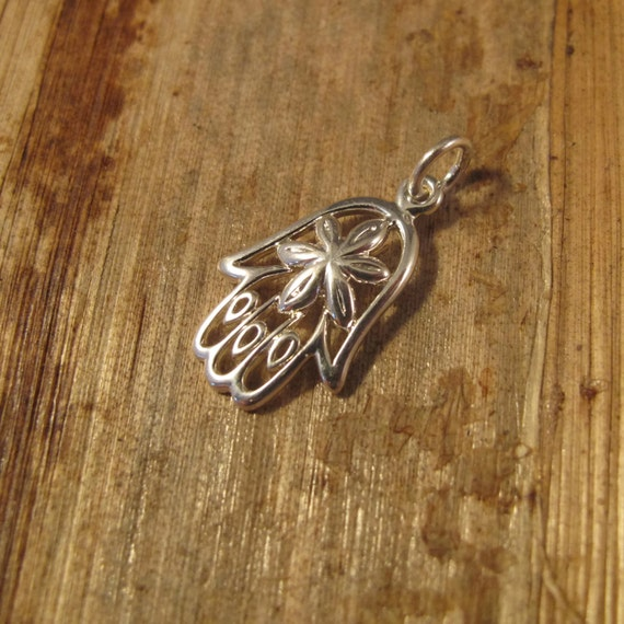 Silver Hand Charm, .925 Sterling Silver Hamsa, Small Hand of God Pendant with Flower in Center, Jewelry Supplies (CH 571)