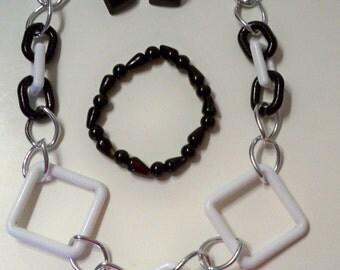 Black & White Choker Necklace, Black Bead Bracelet, Black Square Earrings Vintage Acrylic Chain and Squares Necklace, Glass Bead Bracelet