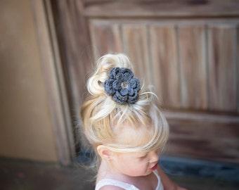 Elephant Gray Hair Clip Crochet Flower Hair Clip Flower Barrette Gray Barrette Spring Summer French Barrette Baby Girl Toddler Girl Women