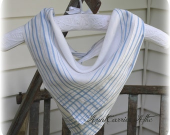 Bandana Scarf, Pale Blue and White,  Triangle Scarf, Soft, Cool, Comfortable Vintage Cotton