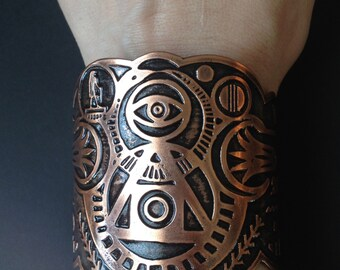 Etched Copper Cuff - Book of the Dead - Life in Balance Cuff - Hieroglyphics - Alchemy - Made to Order - Made in Austin, Tx