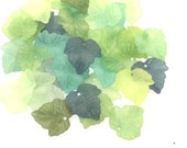 Frosted Lucite Acrylic Leaf Beads - Vintage Style Leafy Greens - 24x25mm