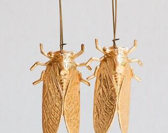 Big GOLD Beetle EARRINGS Nature Study Victorian Cicada  Entomologist Summer Bug