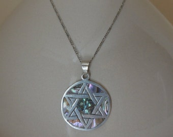 Abalone Star of David Jewish Sterling Silver Pendant. Hexagram Silver Necklace. Wiccan Symbol Sterling Pendant