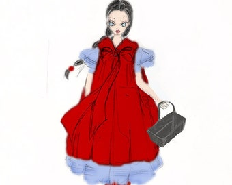 Into the Woods Little Red Riding Hood Costume, Red Riding Hood Preorder for Girls Halloween Costume in Red Blue