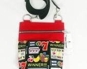 Casino Crossbody Purse Las Vegas Handbag Gambling Gift Macau Poker Accessory Red Black Adjustable Strap Bingo Slot Machine
