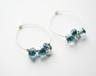 Blue Glass Earring, Hoop Earrings, Silver Earrings