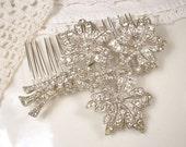 1920s HAIR COMB Or Sash Brooch Antique Art Deco / Art Nouveau Bridal Clear Rhinestone Hairpiece Silver Flower Pin Wedding Accessory Rustic