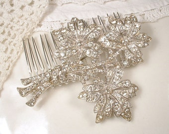 1920s HAIR COMB Or Sash Brooch Antique Art Deco / Art Nouveau Bridal Clear Rhinestone Hairpiece Silver Flower Pin Wedding Accessory Rustic