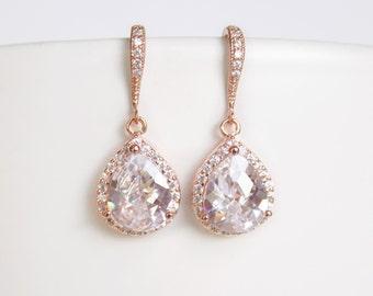 Rose Gold Bridal Earrings Cubic Zirconia Teardrop Earrings Pink Gold Wedding Earrings Sparkly Crystal Earrings Bridal Jewelry