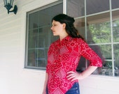 1960s red bandana shirt vintage cotton button up shirt