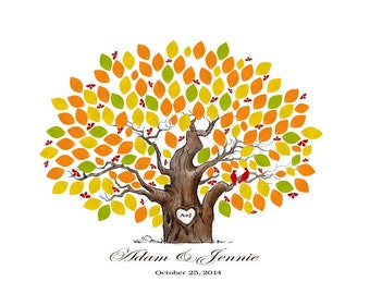 Fall Wedding Tree Guestbook, Autumn Guestbook Alternative With Guest's Signatures - 17x22 - 160 Signature Wedding Guest Book tree