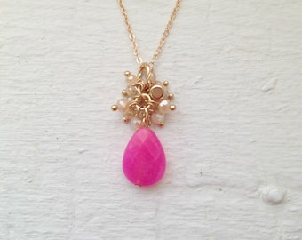 Hot Pink Necklace, quartz necklace, fuchsia necklace, Hot Pink necklace, pink necklace, gift, Jcrew, Jcrew necklace, necklace, jewelry