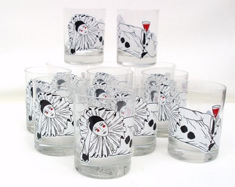Vintage Bar Glasses, Pierrot Doll, Rocks Glasses, Tastesetter High Ball Glasses, Barware Set Mime