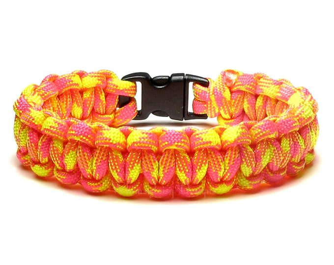 Paracord Bracelet Pink Lemonade Hot Pink Neon Yellow Summer Accessory Camping Bright Colors Gift For Hikers Teens Women Friendship Bracelet