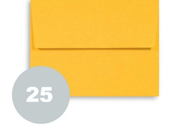 A2 Yellow envelopes. 25 paper envelopes for wedding stationery invitations with gummed square flap