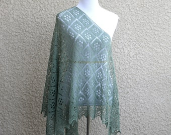 Knit shawl,  lace shawl, wedding shawl, bridal shawl, bridesmaids shawl, lace shawl, olive shawl gift for her ready to ship