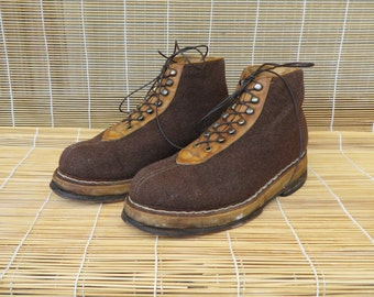 Vintage Brown Wool And Leather Ankle Lace Up Boots Shoes Size EUR 41 / US Man 8
