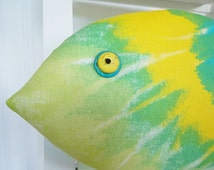 Tie Dye Pillow - Tropical Decor - Fish Pillow - Beach Decor