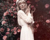 Cream velvet flower headband, rose crown, bridal headpiece