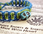 Macrame Hemp Bracelet, Lime Green Blue Hemp Bracelet, Skull Bracelet, Skull Jewelry, Macrame Hemp Jewelry, Summer Beach Hemp Jewelry