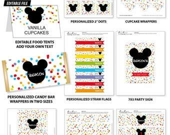MICKEY Mouse Printable Decor Set - Rainbow Confetti Style for Birthday Party - Cupcake Toppers, Favor Tags, Bottle Labels - DIY Print