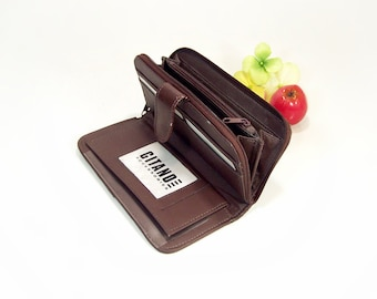 Vintage Gitano Classics Chocolate brown Leather clutch wallet Snap front Ziparound back Checkbook wallet, chic 80s fashion, Simple & roomy