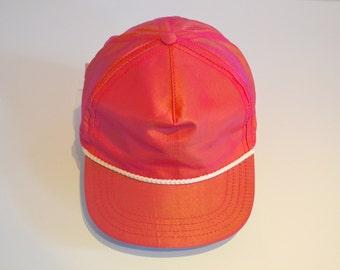 Vintage Pink Iridescent Fabric Truckers Hat, 1980s Baseball Cap Town Talk