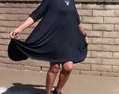 Black Three Quarter Sleeve Jersey Swing Dress - Easy, Comfy, Sassy, Plus size Long Sleeve Swing Dress - All Sizes / Colors Available