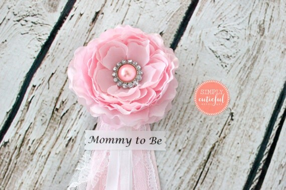 baby shower pink corsage lace mommy to be corsage badge clip pin