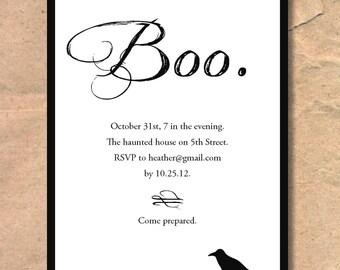 Printable Halloween Invitation: Boo and Raven