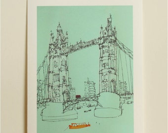 TOWER BRIDGE LONDON Art Print, River Thames Boats, Signed Giclee Print, London Bus, Flat Graphic Bold Colours, Line Drawing, City of London