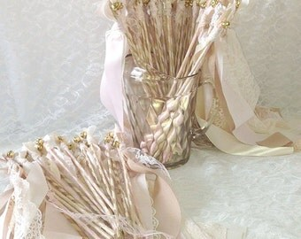 300 Romantic Wedding Wands, Double Streamers with Bell, Wholesale Party Favors, Photo Prop, Just Married Send Off, Table Decorations