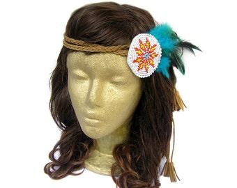 Feather Headband, Coachella Music Festival, Native American Headband, Tribal Headband, Boho Headband, Indian Headband, Braided Headband