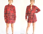 80s Red Linen Aztec Print Shirt / Vintage 1980s 1990s 90s Ethnic Cotton Button Down Collared Long Blouse Tunic / Women's Small Medium
