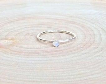 Rainbow Moonstone Ring.  Sterling Silver Rainbow Moonstone Ring.  Dainty Ring.