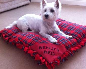 Personalised Tartan pet bed with ruffles